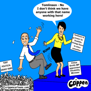 a cartoon of the new minister for disabled people Chloe Smith pushing Justin Tomlinson of a cliff and down into the tory party political graveyard.