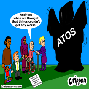 a cartoon about ATOS returning to carry out DWP assessments