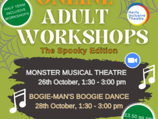 Spooky themed visual flyer with details of the event as in the listing.