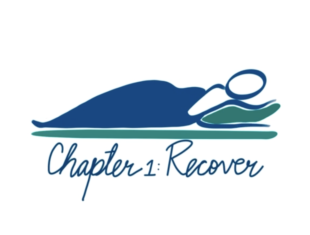 An illustration of a blue figure sleeping, with their head on a green pillow and written beneath the words Chapter 1: Recover