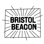 the words Bristol Beacon written in bold capital black text on a white background and framed within a square with lines all around to resemble rays of light