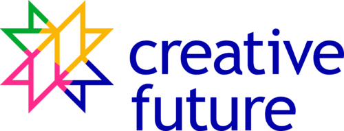 Creative Future in blue text to the left of a multicoloured outline of a star.