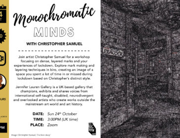 advert with text explaining the workshop on the left and an image on right in dense biro marks making up a corridor