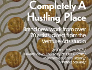 A poster for an art show with a design featuring swirly lines and biscuits with white text overlaid with details of the exhibition from the listing.