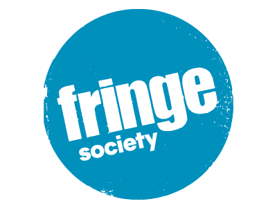 Round blue circle with the words Fringe Society in white.