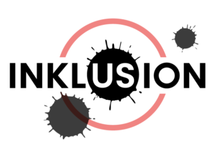 logo for Inklusion has a red circle with a black ink splash in its centre. Across the centre in capital letters is the word Inklusion. Black ink splashes also adorn the image