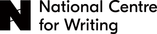 A grey rectangle with a large black bold capital letter N inside and on the left, next to words written in black text National Centre for Writing