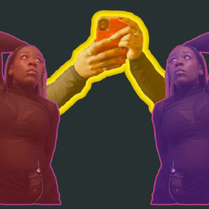 A matted dark grey background with Maya's hands and forearm in the centre of the picture. Maya is holding a red phone and has dark and sparkly cooloured nails. The overlay of the hands have a yellow tint and the hands and arms are outlined with three different shades of yellow. On either side of the hands is Maya in a pose where her arm is behind her head exposing her sensor. These images are reflected however one has a pinkish.reddish overlay and the other has a purple overlay. Both are outlined in a magenta colour. Maya is in a sheer top and black skirt and is wearing her insulin pump