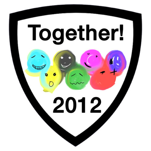 A black shield outline encloses the Together! 2012 logo - A series of coloured balloons with faces with black text that reads Together! 2012.