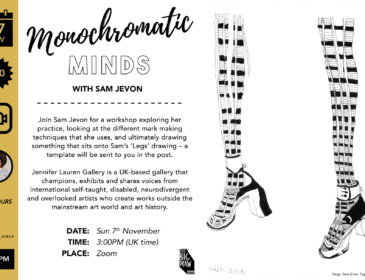 advert with text explaining the workshop on the left and an image of hand drawn legs in monochrome on the right