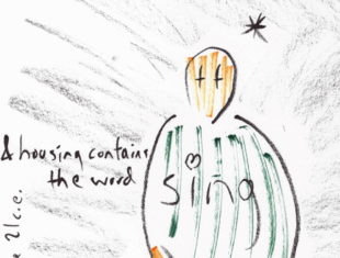 a simplified cartoon od a figure sitting crosslegged with a star in the area above its head. The words 'and housing contains the words sing' are written across the page