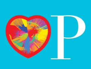 Red heart with multi-coloured spectrum within next to a white capital p. All on a blue background.