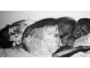 Charcoal drawing of woman laying down in bed.
