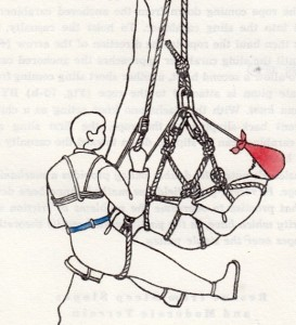 Line drawing of a man in a harness