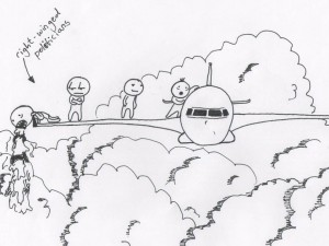 Line drawing of a plane flying over a landscape